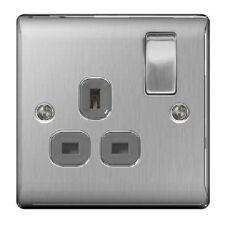 Brushed Steel / Satin Chrome Single Switch Socket - 13amp