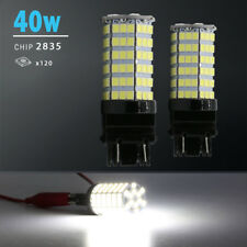 2X 3157 40W High Power 6000K White 120 SMD LED DRL Daytime Running Lights Bulbs