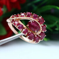 NATURAL RED RUBY RING 925 STERLING SILVER SZ 7