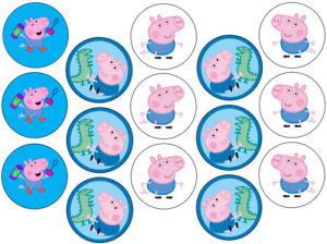 PEPPA PIG GEORGE INSPIRED 15 X 2'' ROUND CUPCAKE TOPPERS EDIBLE ICING / WAFER