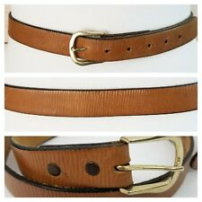 Women's Genuine Leather Belt Sz 32 Tan Brown Crinkled Rippled Textured USA