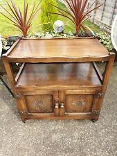 Old Charm Oak Trolley Table Sideboard Media Unit Drinks Cabinet On Castors