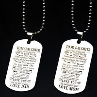 To My Son Daughter Necklace Pendant Chain Mother Father Teacher Family PartyGift