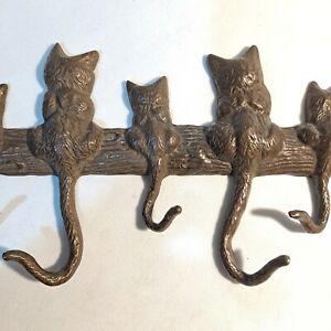 """Textured Cat Tail Key Hook Cast Iron  Hanger Holder Wall Rack Organizer 16.5""""X6"""""""