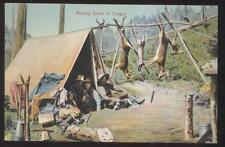 POSTCARD OREGON OR HUNTERS CAMP SCENE W TROPHY CATCH 1907