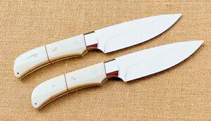 LOT 2 CUSTOM HANDMADE D2 STEEL MIRROR POLISHED BUSHCRAFT SKINNER/HUNTING KNIFE