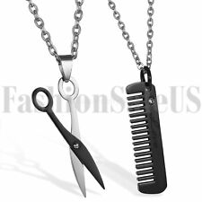 2pcs Stainless Steel His and Hers Lovers Matching Scissors Comb Pendant Necklace