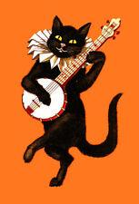 Cat Fridge Toolbox Magnet (2 x 3) Poster Black Dancing Banjo Funny Humor Cute