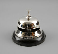PLATA hotel-glocke Timbre campana de MESA niqueladas patas de madera 9977117