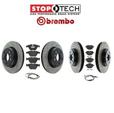 Front & Rear Drilled & Slotted StopTech Brake Disc Rotors & Brembo Pads Sensors