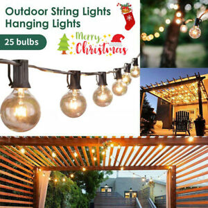 25ft Weatherproof Festoon String Lights 28 Clear Bulbs G40 Indoor Outdoor Garden