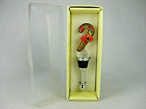 Holiday Candy Cane Glass Bottle Stopper/Top w/ Box, New