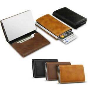 Womens Mens Leather Credit Card Holder RFID Blocking Pop-up Wallet Money Clip