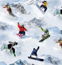 REST Snowboard Winter Sport Patchworkstoffe Stoffe Patchwork Baumwollstoff Reste