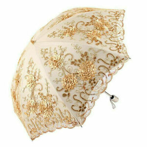 1xVintage Ladies Lace Umbrella UV Sun Parasol Folding Flower Embroidery Umbrella