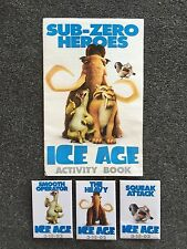 3 Ice Age Pin Button Pinbacks 3-15-02 + Activity Book Manny Scrat Squeak Attack