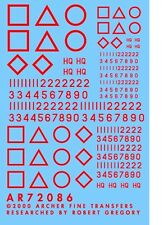 Archer AR72086R 1/72 Dry Transfers of WWII British Squadron Signs-SeniorReg(Red)