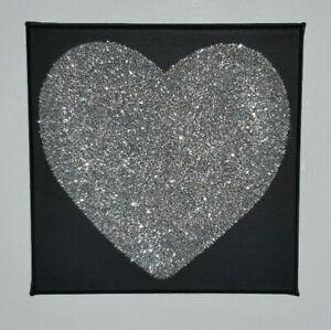 Black & Silver Glitter Sparkly Love Heart Canvas Wall Art Picture