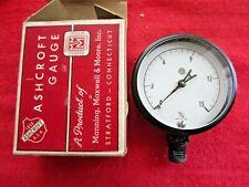 Vintage Nos Ashcroft Gauge 2 12 1009g Brass White Face 0 15 Lb Pressure Gauge