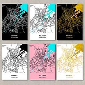 Belfast map,print,Belfast map poster, Belfast city map, Belfast wall art, decor