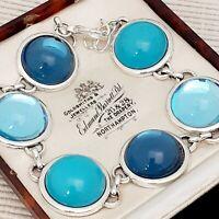 Vintage 1970s Shades of Blue Glass Cabochon Bracelet - Large Fit