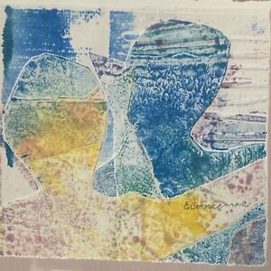 Vintage Abstract Figures Modern Monoprint Art Wall Hanging Signed Mid Century