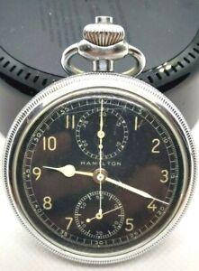 Vintage Hamilton Model 23 Military Wind Up Chronograph Pocket Watch 94368