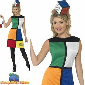 Rubik's Cube Costume 80's Retro Rubix Ladies Women's Fancy Dress Costume