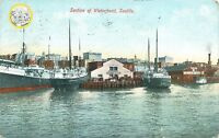 SEATTLE  WASHINGTON SECTION OF BUSY WATERFRONT SHIPS & SIGNAGE POSTCARD c1909