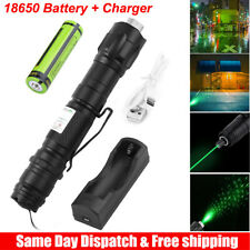 Green Laser Pointer High Power Visible Beam + Star Cap + 18650 Battery + Charger