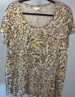 J Jill Love Linen Cream Chartreuse Floral Print Top Blouse Shirt Size Large