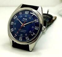 vintage hmt pilot hand winding men's stainless steel wrist watch run order