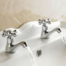 ENKI Twin Basin Taps New Bathroom Period Victorian Plumbing Chrome WINDSOR