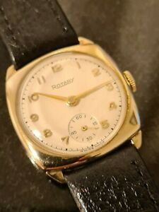 Gentleman's Solid Gold Rotary Cushion Cased Watch Rotary cal 440 15 jewels