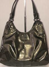 COACH MADISON MAGGIE GUNMETAL/PEWTER PATENT LEATHER SHOULDER BAG 18760