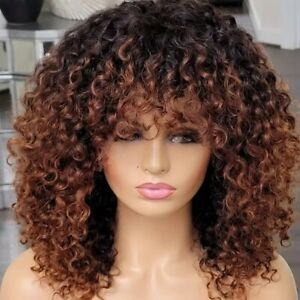 8A 250 Density Unprocesed Brazillian Machine Made Curl Human Hair Wig With Bang
