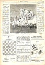 Port-Vendres Maisons de Pêcheurs Pyrénées-Orientales Occitanie GRAVURE 1879