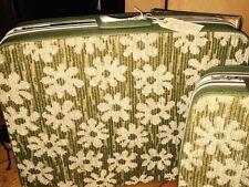 "Vntg 1960s SAMSONITE  25"" Fashionaire Green Floral Carpet Luggage Suitcase"