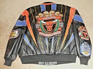 "CHICAGO BULLS - ""REPEAT 3-PEAT"" - Leather JEFF HAMILTON Jacket - XL - M. Jordan"