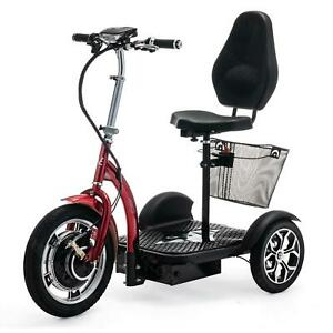 Folding 3 Wheel Electric Mobility Scooter Tricycle Trike Red VELECO ZT16