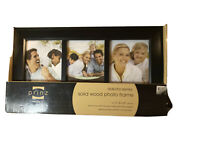 """Prinz Picture Frame Collage Solid Wood Black Holds 3 4"""" x 6"""" Photos New"""