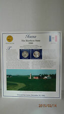 Iowa State Quarters - Postal Commemorative Society Stamps Display Card.