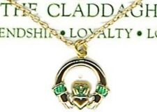 """Irish Claddagh 18"""" Necklace; Gold Plated, St Patricks Day, Great Gift, USA NEW"""