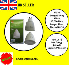 12 X GU10 9 WATT LOW ENERGY COMPACT LAMP LONGER THAN STANDARD GU10 BARGAIN NEW