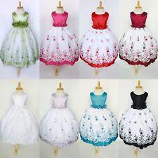 Белая цветочная вышивка цветочница платье выпускной свадьба 2 4 6 8 10 12 14