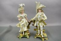 Antique Rudolstadt German Porcelain Figurines Couple Man Woman Lady HW