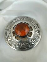 Vintage Signed Made In Britain Cairngorm Crystal Stone Scottish Brooch Kilt Pin