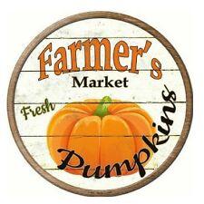 "Farmers Market Pumpkins Novelty Metal Circular Sign 12"""