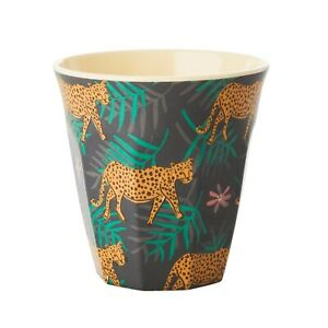RICE Melamine cup in palm and leopard print