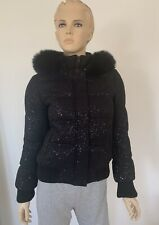 NWT Alice + Olivia Black Fox-fur Hooded Bomber Jacket Coat Size XS $598